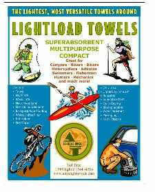 lightload Towels are good for fishing, bikikng,hiking,kayaking, cars